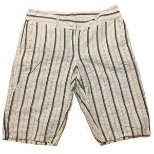 LOFT Bermuda striped linen shorts size 2